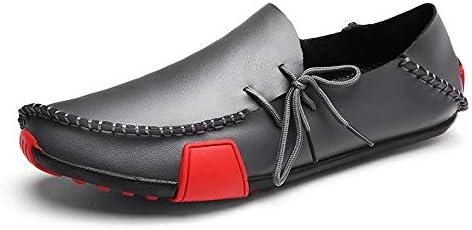 夏のファッション快適な手作り本革の靴男性のための軽量の快適なフラットローファー2トーン滑り止めラウンドトウレースアップ 快適な男性のために設計
