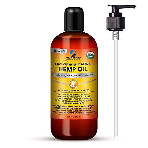 Andy Anand Hemp Oil for Pets- Certified Organic-Anxiety Relief, Calming, and Joint Health, Immunity Support, Hot Spot, for Dry Skin, with Neem, Turmeric & Herbs- 16 OZ Grown in The USA.