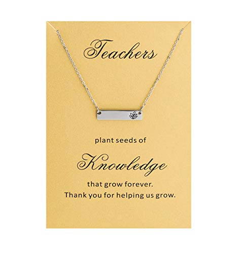 Best Teacher Gift - Bestill Jewelry Gifts for Women Teacher's Day Bar Necklace,Stainless Steel 18'',with Thank You Card, Appreciation Gifts