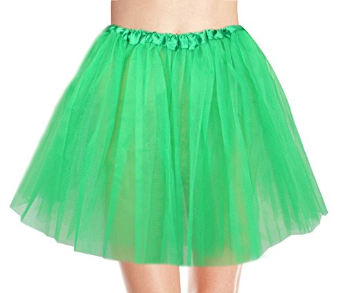 Women's, Teen, Adult Classic Elastic 3, 4, 5 Layered Tulle Tutu Skirt (One Size, DarkGreen 3 Layer) - Teen Dance Costumes