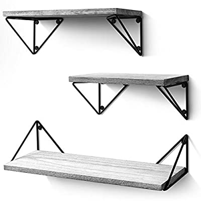 BAYKA Floating Shelves Wall Mounted Set of 3, Rustic Wood Wall Shelves for Living Room, Bedroom, Bathroom Gray - 【Attractive Storage Shelves】: Reorganize your home and free countertops from clutter with these cute floating shelves. Composed of solid Paulownia wood boards and matte metal brackets, our functional wall shelves add a decorative touch to your wall while also creating versatile storage space to store and reorganize small items. Perfect for bathroom, bedroom, living room, kitchen, and more. 【Suitable for any contemporary sapce】: Designed with torched finish wood and industrial triangle metal brackets, the floating shelves not only enhance the aesthetic flare of any contemporary household, but also serve as a delightful decoration fitting to any design styles of a room. Buy one or two sets together to fill an empty wall space and display items as you like. 【Sturdier and Easy to Install】: Large: 16.5×6×4.8 inches; Medium: 14.2×6×4.8 inches; Small: 11.4×6×4.8 inches. These wall shelves are wider and sturdier than competitor's options. Strong enough to hold photos, collectibles, books, treasures, art, small plants, trophies and more. Easy to assemble with all necessary hardware included according to the instruction steps. - wall-shelves, living-room-furniture, living-room - 41tK1XmfIOL. SS400  -