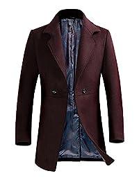 Men's Slim Fit Button Front Wool Blend Pea Coat Top Jacket