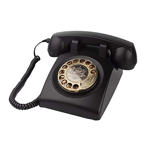 TelPal Antique Red Corded Landline Telephone Vintage Classic Rotary Dial Home Phone of 1930s Old Fashioned Office Decor Business Phones (Black)