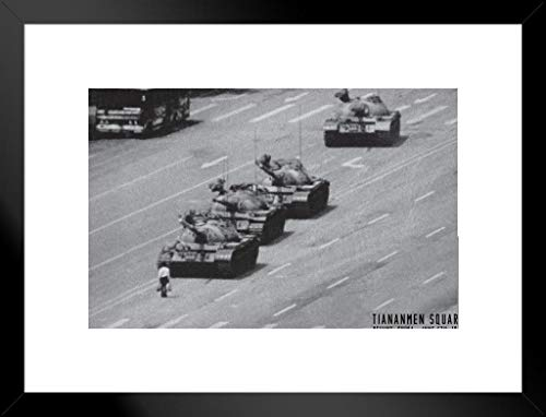 Pyramid America Tiananmen Square Tank Man Or Unknown Protester June 1989 Chinese Military Tanks Matted Framed Poster 26x20 inch