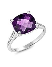10K White Gold 3.45 Ct Cushion Checkerboard Purple Amethyst Diamond Ring (Available 5,6,7,8,9)