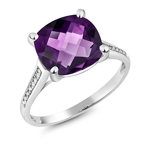 - 10K White Gold 3.45 Ct Cushion Checkerboard Purple Amethyst Diamond Ring (Size 8)