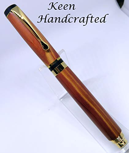 as - Keen Handcrafted Handmade Cedar 24Kt Gold Streamline American - Screw Cap - Roller Ball Pen