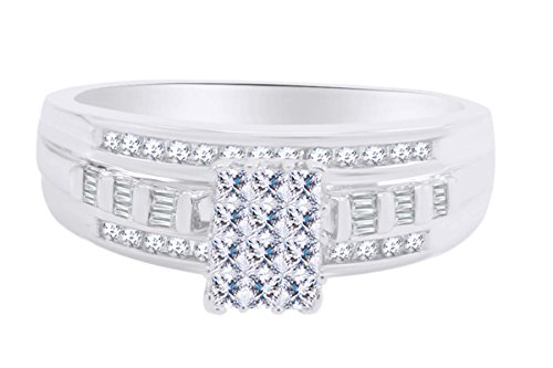 10K Solid White Gold Wedding Band Bridal Ring Set 1/2cttw White Natural Diamond Ring ()