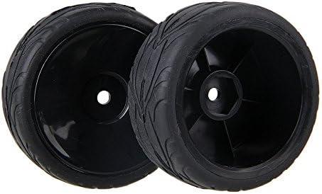 MxfansブラックRC 1: 10魚スケールパターンラバータイヤ&ブラックプラスチックImitateホイールリムfor rc1: 10On Road Car Set of 4