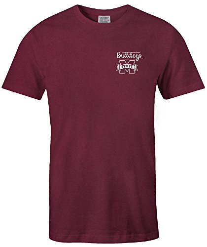 (NCAA Mississippi State Bulldogs Adult NCAA Sketchbook Comfort Color Short sleeve T-Shirt, Medium,Maroon)