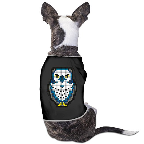 Screech Costume (Yo Ou Pixel Owl Pattern Unique Sleeveless Costume Dogs Cats Pet Doggy Sports Clothing Vest T Shirt Tees)