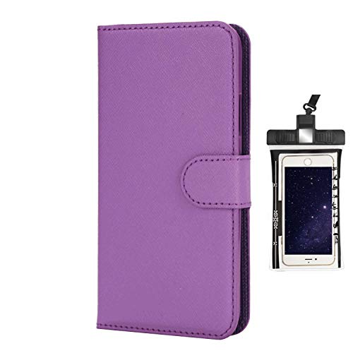 Case for iPhone 8 Luxury Leather Wallet with Viewing Stand and Card Slots Bussiness Phone Case [with Free Waterproof Case]