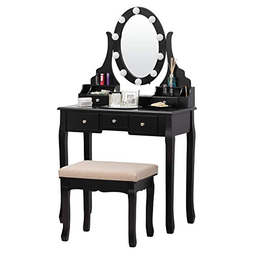 Fineboard FB-VT30-BK Vanity Table Set with LED Lights Mirror and Stool with 6 Drawers, Black