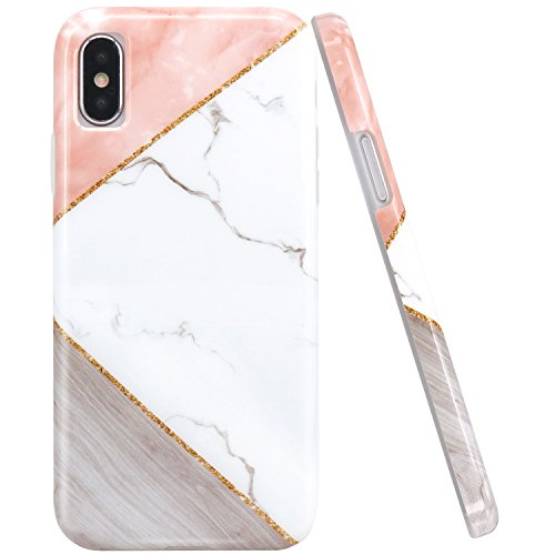 JAHOLAN Pink Geometric White Marble Design Clear Bumper Glossy TPU Soft Rubber Silicone Cover Phone Case Compatible with iPhone Xs (2018) / iPhone X (2017)