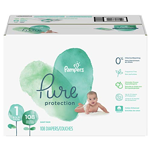 Diapers Newborn/Size 1 (8-14 lb), 108 Count - Pampers Pure Disposable Baby Diapers, Hypoallergenic and Fragrance Free Protection, Giant