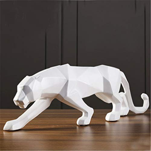Leopard Statue Large Size Modern Abstract Geometric Style Resin Panther Sculpture Animal Figurine Home Office Decor WHITE]()