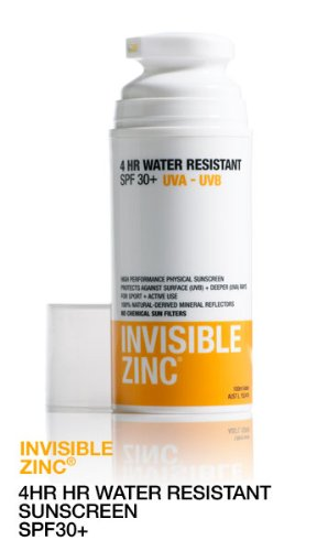 Invisible Zinc 4 Hour Water Resistant Sunscreen SPF 30+ 50ML Airless Pump by Ganehill