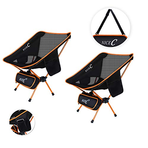 NiceC Ultralight Portable Folding Camping Backpacking Chair Compact & Heavy Duty Outdoor, Camping, BBQ, Beach, Travel, Picnic, Festival with 2 Storage Bags&Carry Bag (2 Pack of Orange) ()