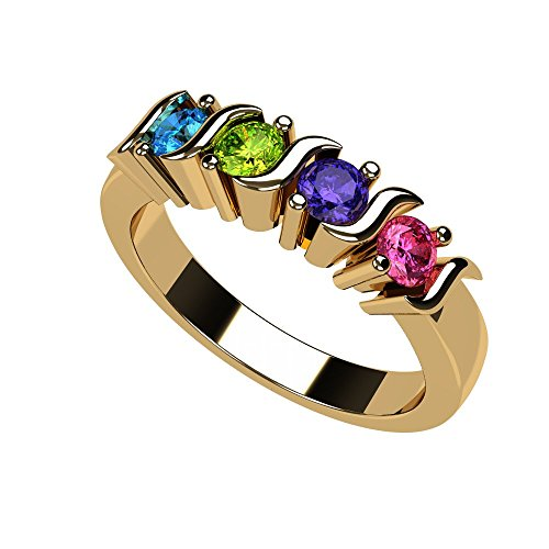 Central Diamond Center Nana S-Bar Mothers Ring 1 to 6 Simulated Birthstones- 10k Yellow Gold - Size - Mothers Ring Gold 10k