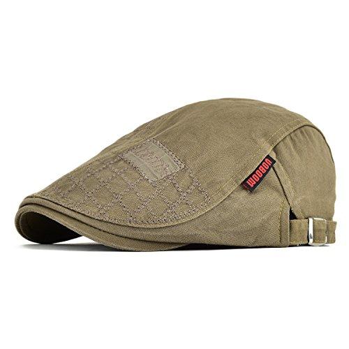- VOBOOM Men Cotton Adjustable Newsboy Beret Ivy Cap Cabbie Flat Cap MZ100 (Dark Brown)