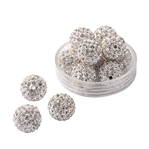 (PH PandaHall 100pcs 12mm Rhinestone Clay Beads Clay Pave Disco Ball Shamballa Clay Beads for Jewelry Making - Crystal)