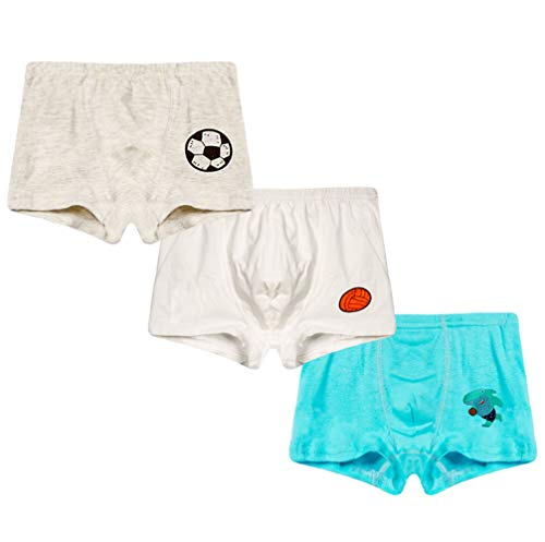 (2-8 Years Old Boys Soccer Print Boxer Briefs Cotton Underwear 3 Multipack)
