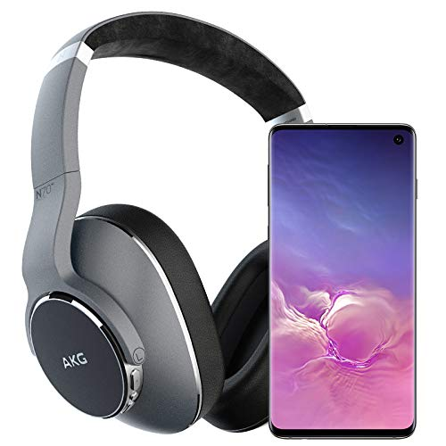 Samsung Galaxy S10 Factory Unlocked Phone with 128GB - Prism Black w/AKG N700NC Headphones
