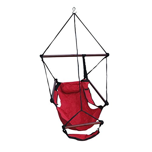 Cheap Lazy Daze Hammocks Hanging Chair with Cup Holder,Footrest &Hardware for Patio Garden Outdoor Indoor, Capacity 250 lbs (Red)