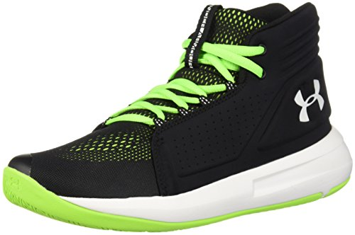Under Armour Boys' Grade School Torch Mid Basketball Shoe, Black (001)/Hyper Green, 3.5