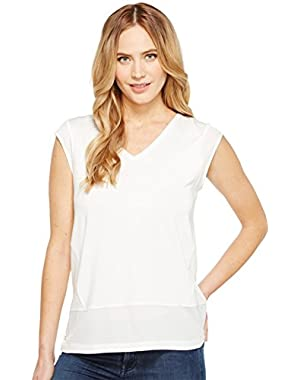 Calvin Klein Womens Short Sleeve V-Neck with Crepe De Chine Trim