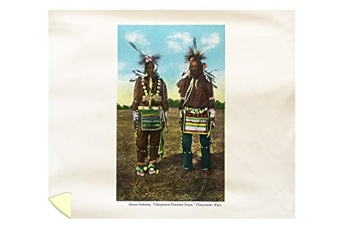Lantern Press Cheyenne, Wyoming - View of Two Sioux Indians in Regalia 29730 (88x104 King Microfiber Duvet - Sioux Indian Pottery