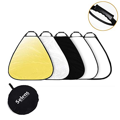 - Selens 5-in-1 32 Inch Portable Triangle Reflector with Handle for Photography Photo Studio Lighting & Outdoor Lighting