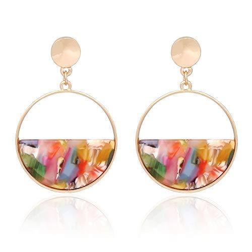 vogueknock Acrylic Dangle Earrings Gold Textured Square Tortoise Marble Resin Drop Earrings for Women (Floral Round) - Earrings Floral Round