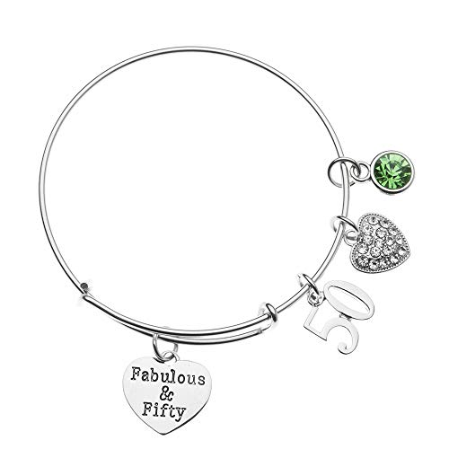 Infinity Collection 50th Birthday Gifts for Women, 50th Birthday Expandable Charm Bracelet with August Birthstone Charm, Adjustable Bangle, Perfect 50th Birthday Gift Ideas (August)