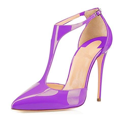 Spange Schuhe Damen Spitze T Schnalle mit EDEFS Purple Zehen Knöchelriemchen Pumps OxZ0OEwH