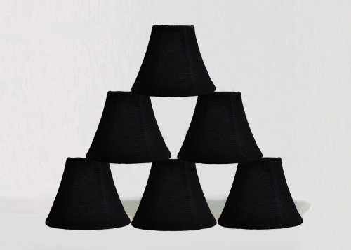 Urbanest 1100502c Chandelier Lamp Shade 6-inch, Bell, Clip On, Black Burlap (Set of 6) - French Country Chandelier Shades