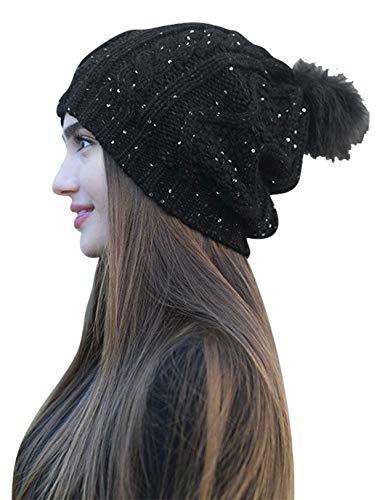 Sparkle Cap - Daisy Del Sol Women's Warm Chunky Cable Knit Soft Faux Fur Pom Pom Shimmer Sequin Sparkle Winter Beanie Bobble Hat (Black)