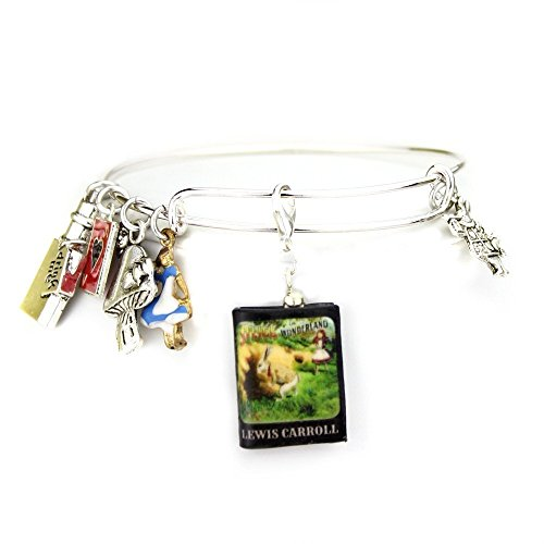 [ALICE IN WONDERLAND Lewis Carroll Clay Mini Book Expandable Bangle Bracelet by Book Beads] (Mama Mia Costumes)