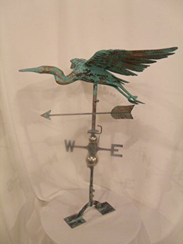 LARGE Handcrafted 3D 3- Dimensional Heron Weathervane Copper Patina Finish (Large Steel Weathervane Roof Mount)