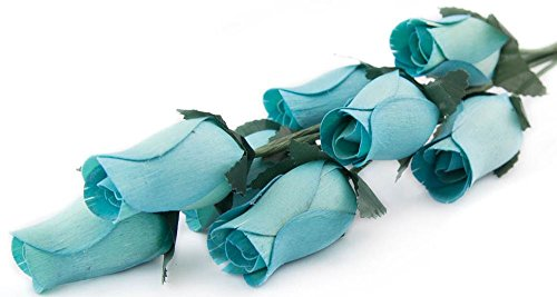 Light Blue Roses Bunch of 8 Closed Bud Wooden Roses For Crafts Custom Bouquets and other DIY Projects. Choose form Over 50 (2 Piece Vampire Costumes)