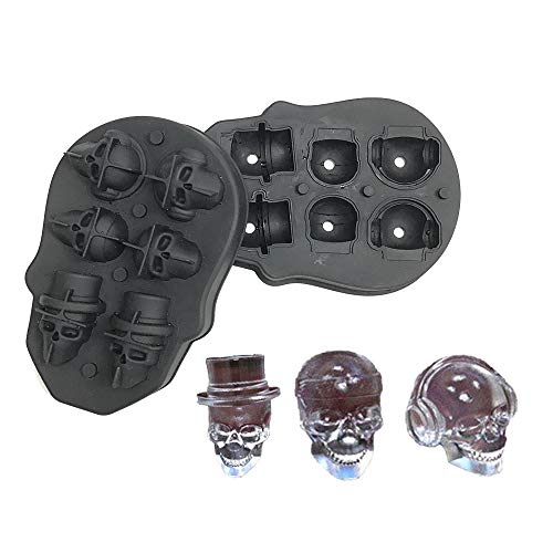 3D Skull Ice Mold, Flexible Silicone Ice Cube Mold Tray, Best For Whiskey, Cocktails and Vodka, Perfect Ice Cube Maker for Party and Christmas Eve Gifts