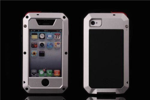 iPhone 4/4S Case [Metal Series] [Scratch Proof] Shockproof Dust/Dirt Proof Aluminum Metal Heavy Duty Protection Cover Case for Apple iPhone 4 4S-Silver ()