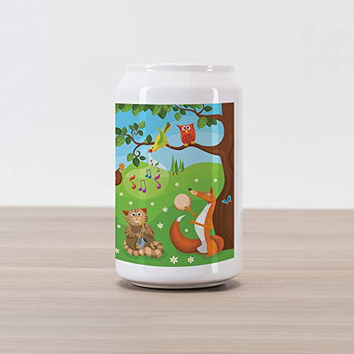 Ambesonne Hedgehog Cola Can Shape Piggy Bank, Open Air Concert in Forest Instrument Playing Bear Rabbit Fox and Tweeting Bird, Ceramic Cola Shaped Coin Box Money Bank for Cash Saving, Multicolor