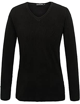 Camii Mia Women's V Neck Long Sleeve Pullover Sweater