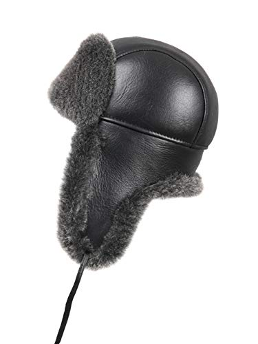 58c75b9f384 Zavelio Unisex Shearling Sheepskin Leather Aviator Russian Ushanka Trapper  Winter Fur Hat