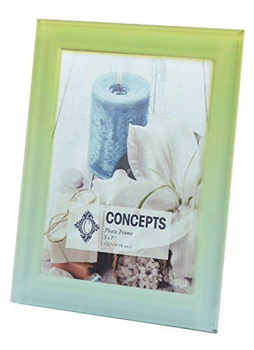 """Concepts Frosted Glass Beveled Edge Picture Frame 5""""x7"""" Mint Green"""