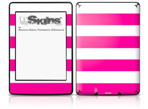 Psycho Stripes Hot Pink and White - Decal Style Skin fits Amazon Kindle Paperwhite (Original)