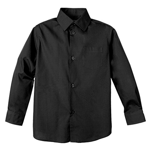 Spring Notion Big Boys' Long Sleeve Dress Shirt 18 Coal Black