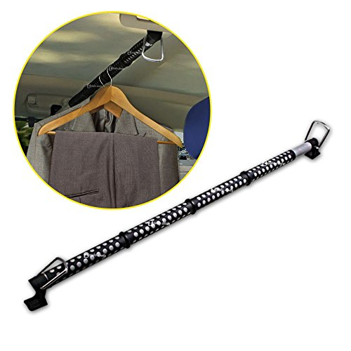 (Zento Deals Heavy Duty Expandable Clothes Bar Car Hanger Rod- Convenient Classic Black Combines with Strong Metal and Rubber Grips and Rings)
