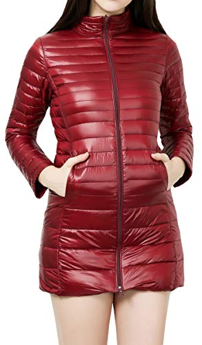 Blackmyth Women Coat Leggero Rosso Down Packable Inverno Vino Manica Size Plus Jacket Lunga 44adrwqg